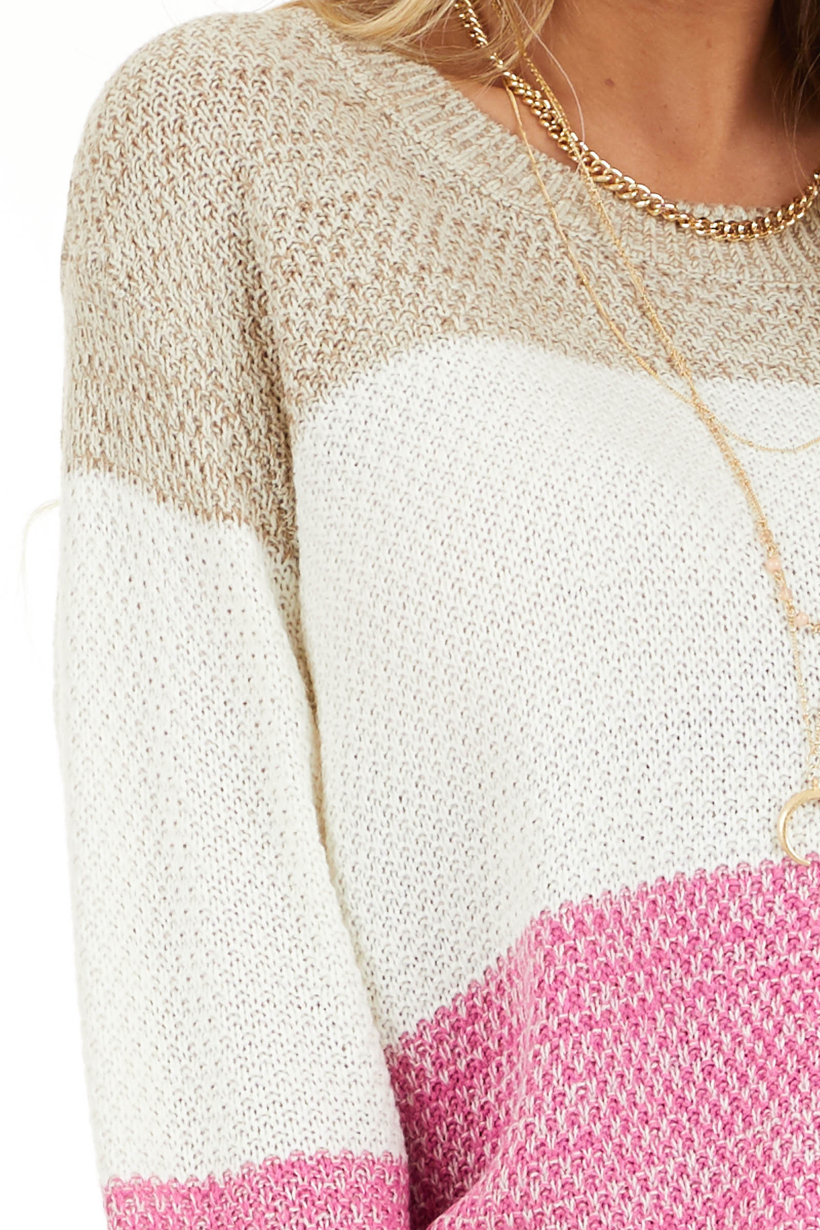 Fuchsia Multi Colored Striped Long Sleeve Knit Sweater detail