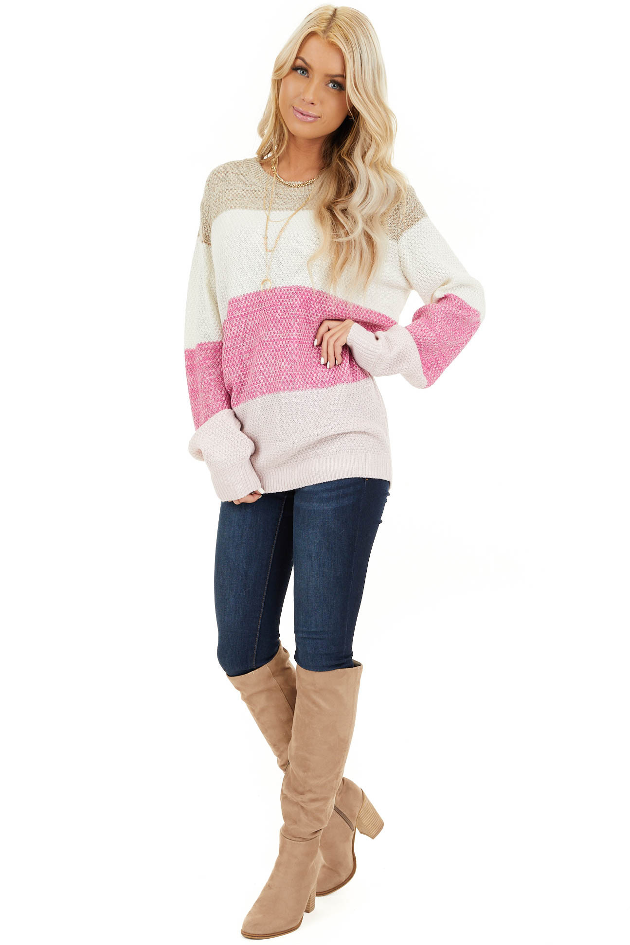 Fuchsia Multi Colored Striped Long Sleeve Knit Sweater front full body