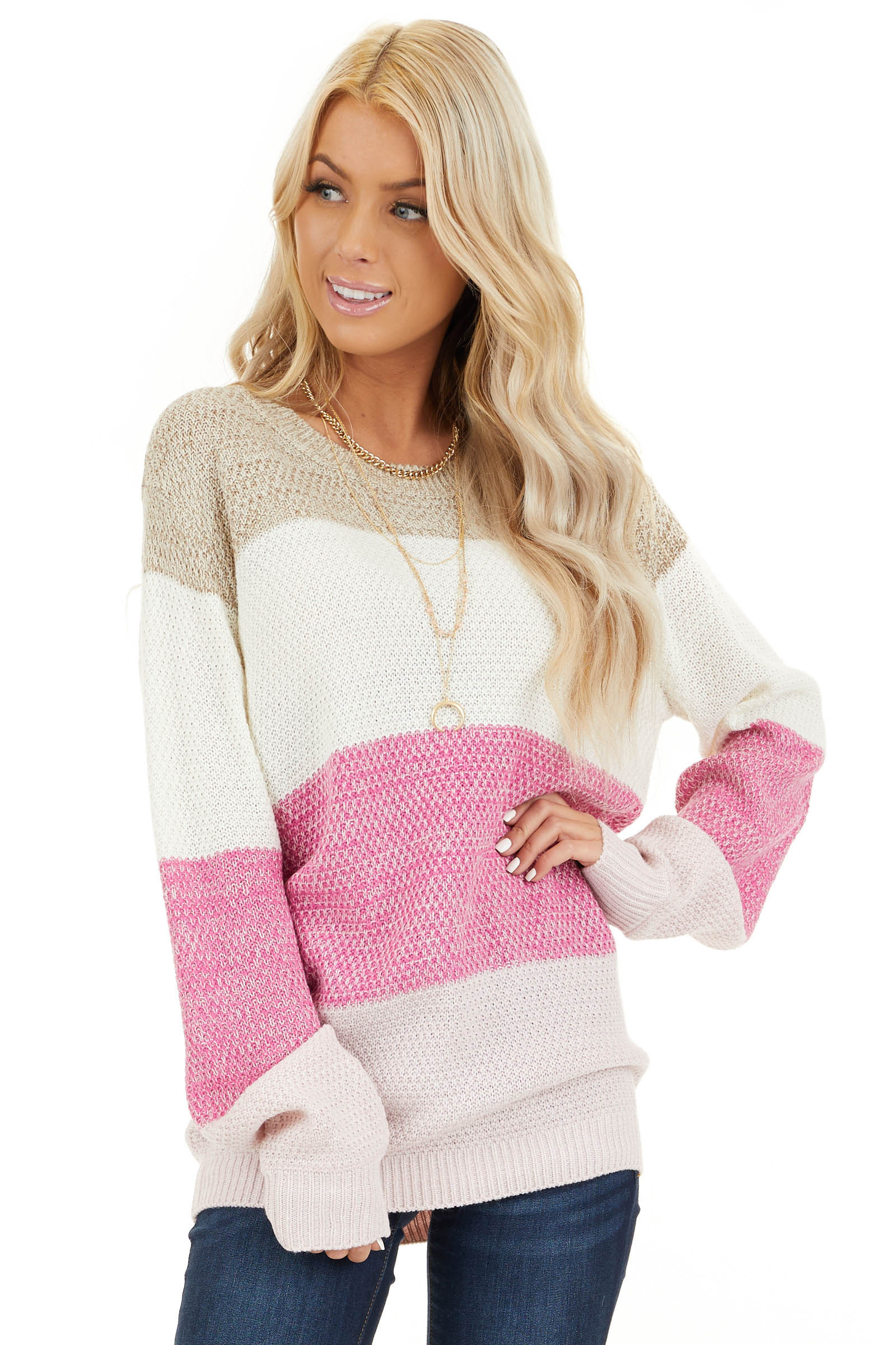 Fuchsia Multi Colored Striped Long Sleeve Knit Sweater front close up