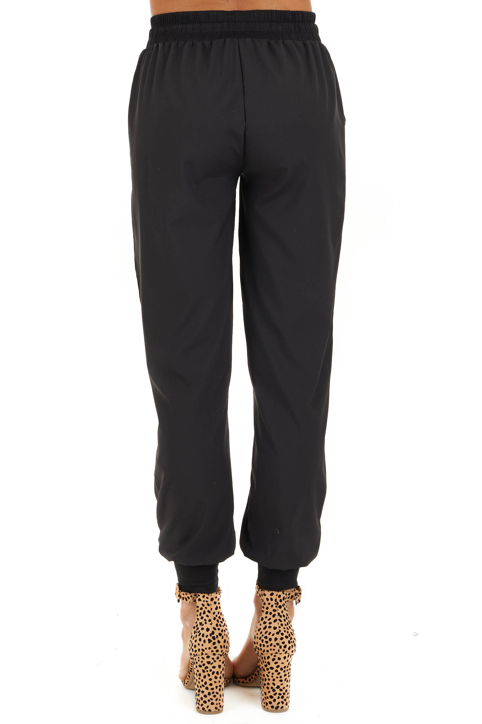 Black Jogger Pants with Elastic Waist and Pockets back view