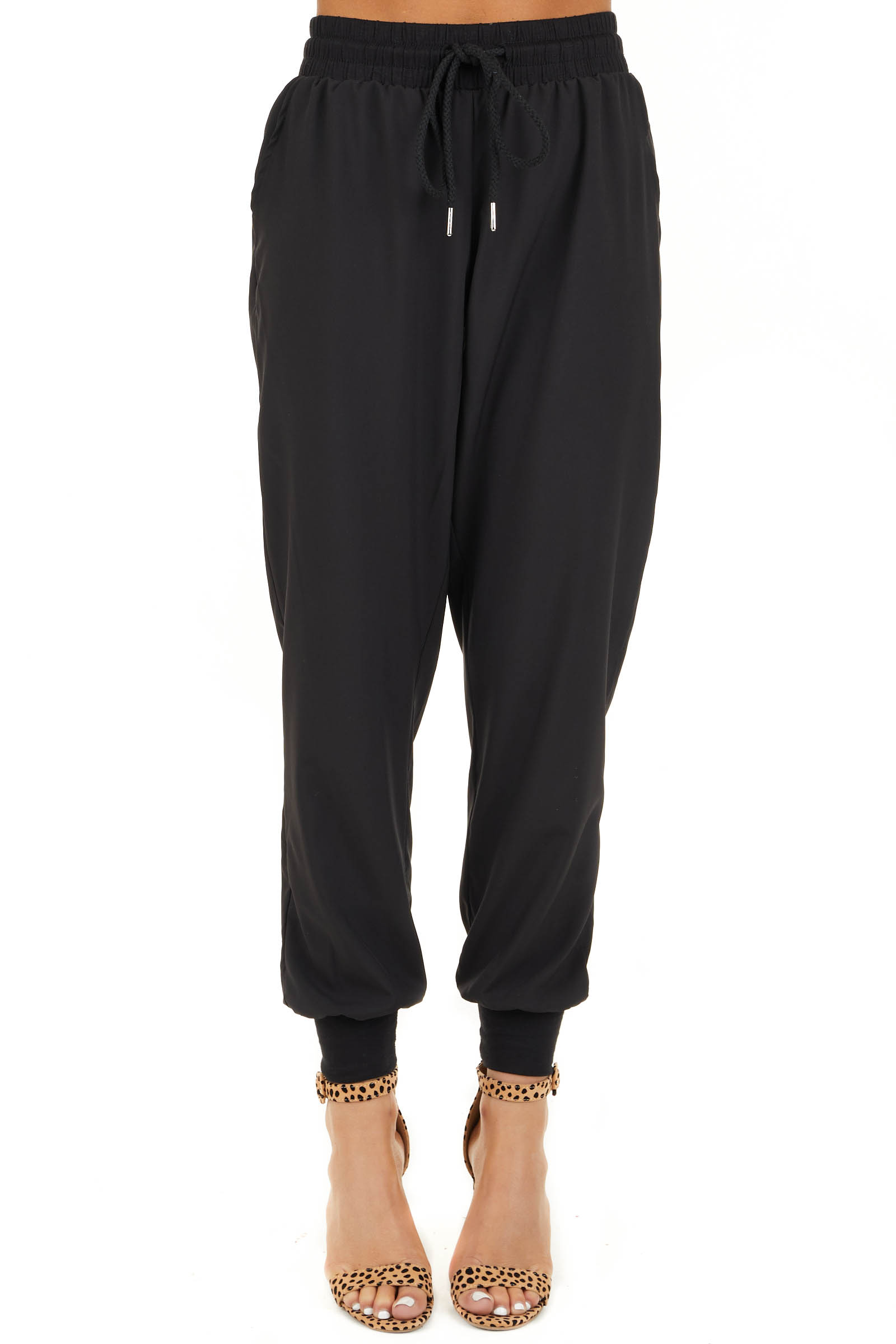 Black Jogger Pants with Elastic Waist and Pockets front view