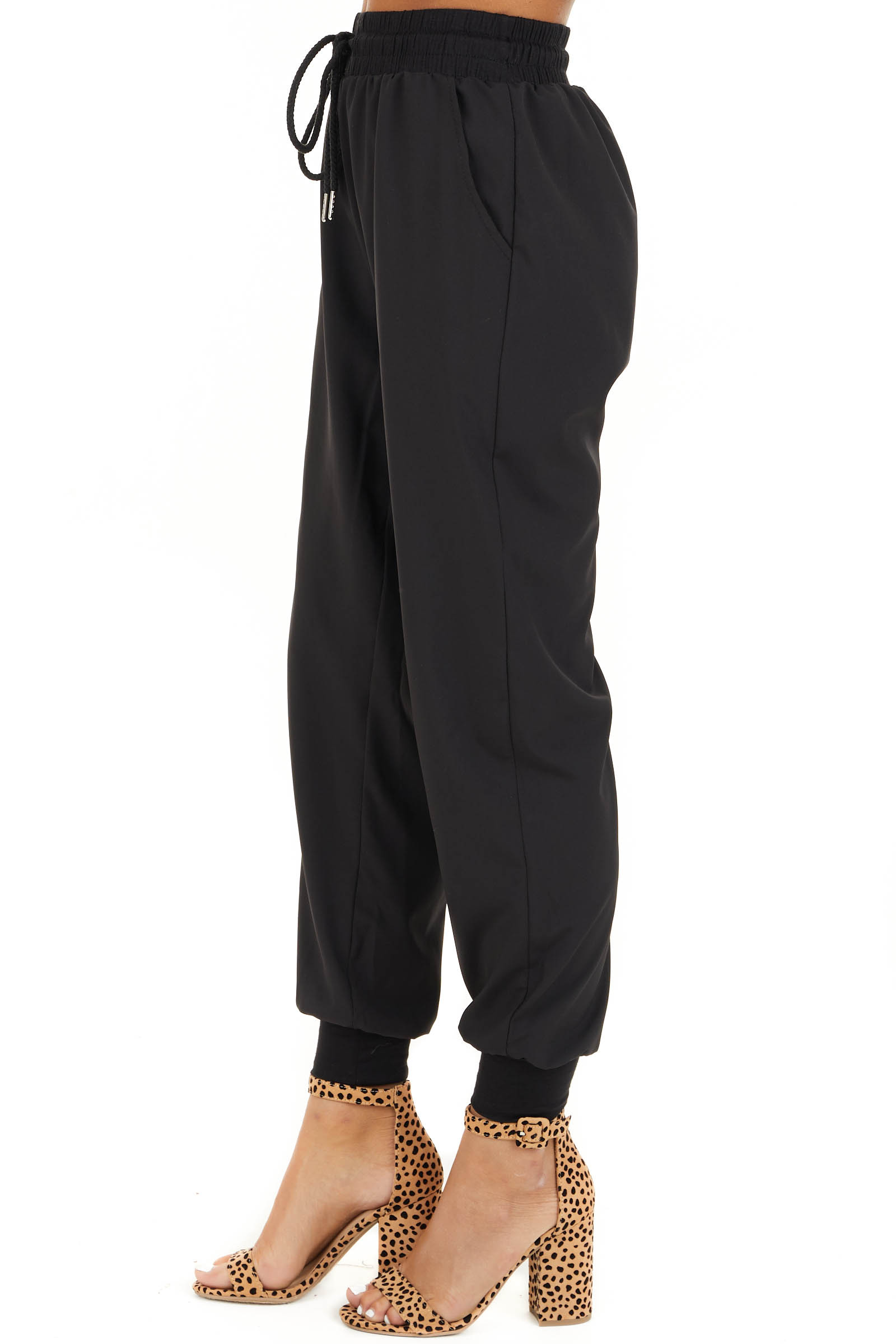 Black Jogger Pants with Elastic Waist and Pockets side view