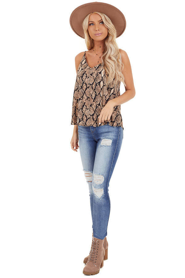 Taupe Snakeskin Print Camisole Tank Top with Button Detail front full body