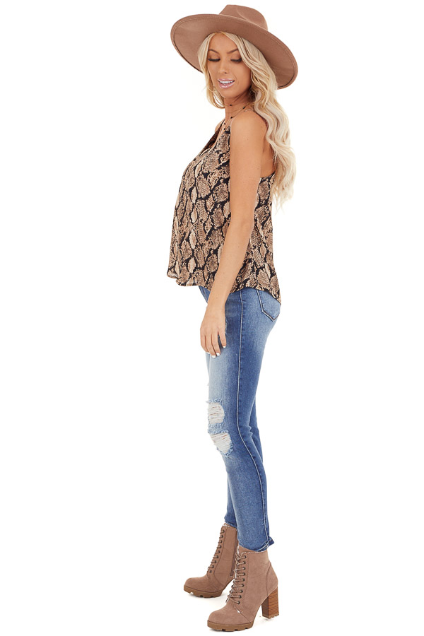 Taupe Snakeskin Print Camisole Tank Top with Button Detail side full body