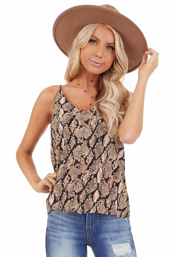 Taupe Snakeskin Print Camisole Tank Top with Button Detail front close up