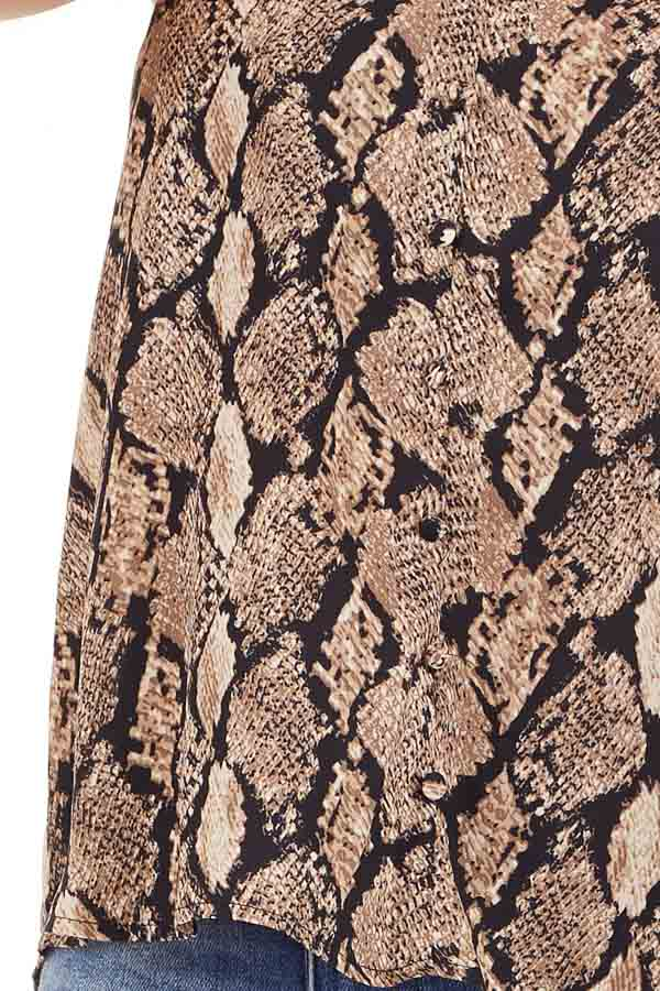 Taupe Snakeskin Print Camisole Tank Top with Button Detail detail