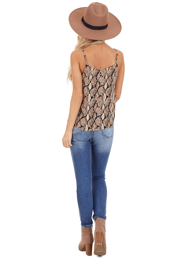 Taupe Snakeskin Print Camisole Tank Top with Button Detail back full body