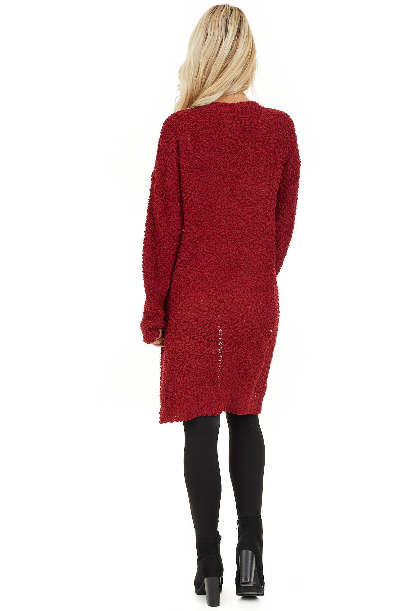 Ruby Open Front Popcorn Knit Cardigan with Pockets back full body