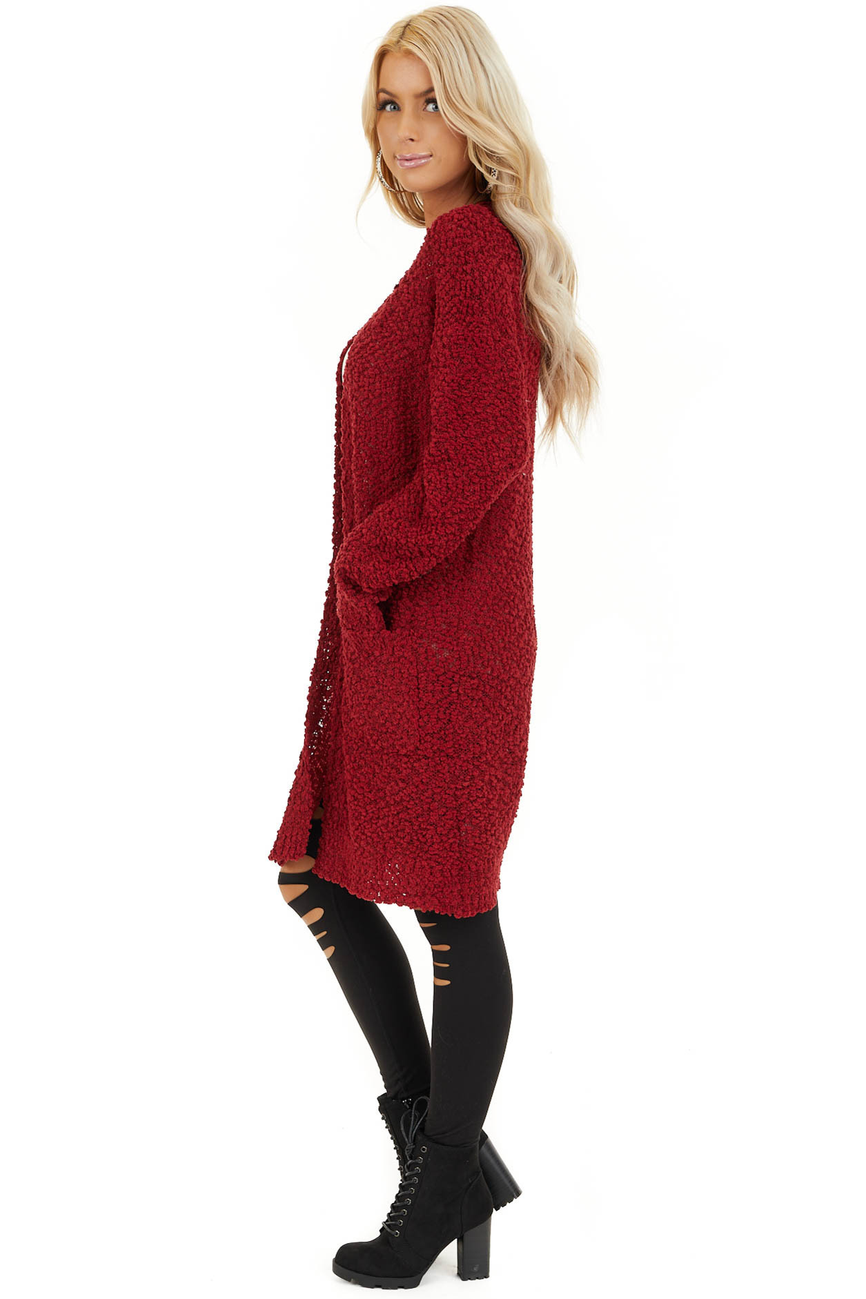 Ruby Open Front Popcorn Knit Cardigan with Pockets side full body