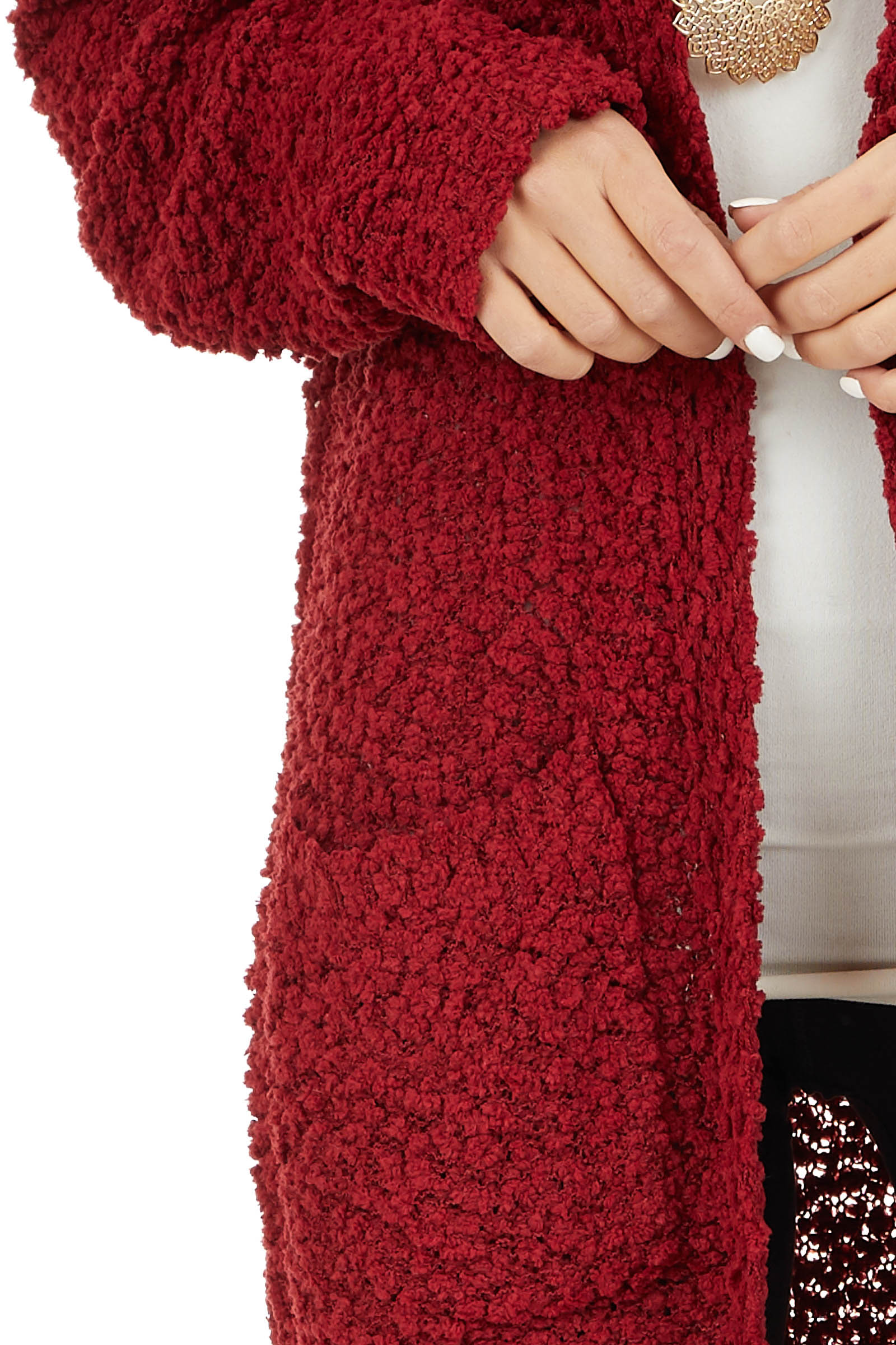 Ruby Open Front Popcorn Knit Cardigan with Pockets detail