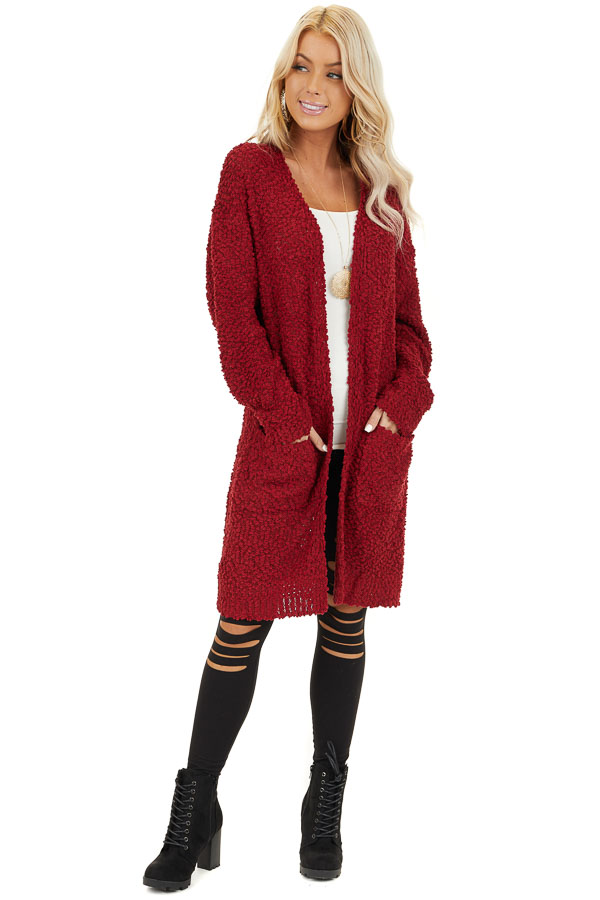Ruby Open Front Popcorn Knit Cardigan with Pockets front full body