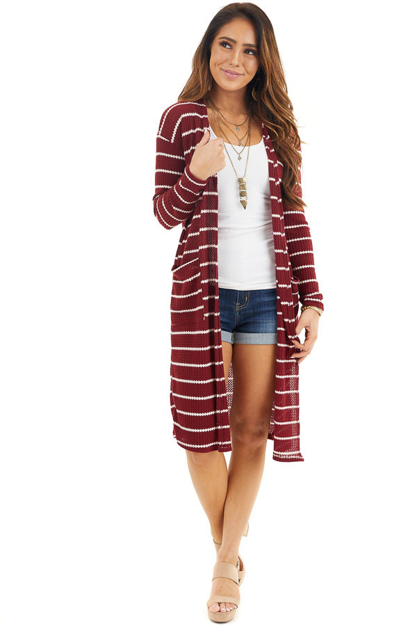Maroon and Ivory Striped Waffle Knit Cardigan with Pockets front full body