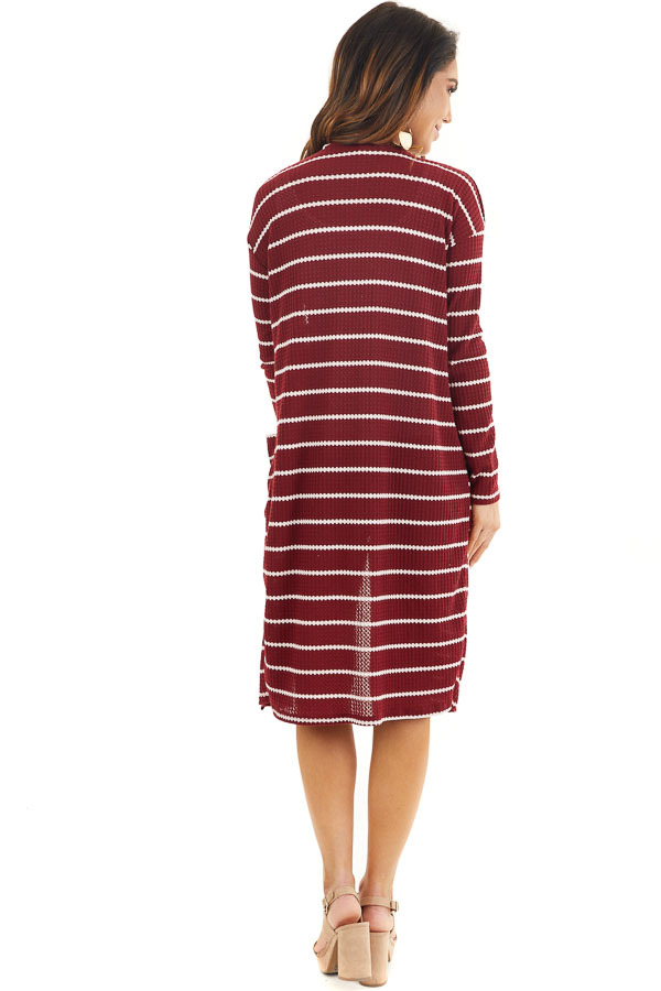 Maroon and Ivory Striped Waffle Knit Cardigan with Pockets back full body
