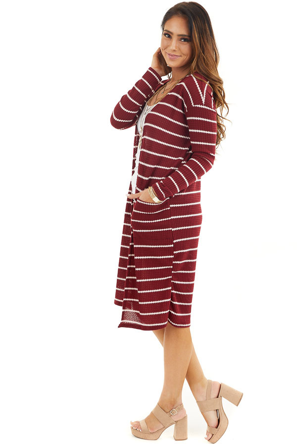 Maroon and Ivory Striped Waffle Knit Cardigan with Pockets side full body