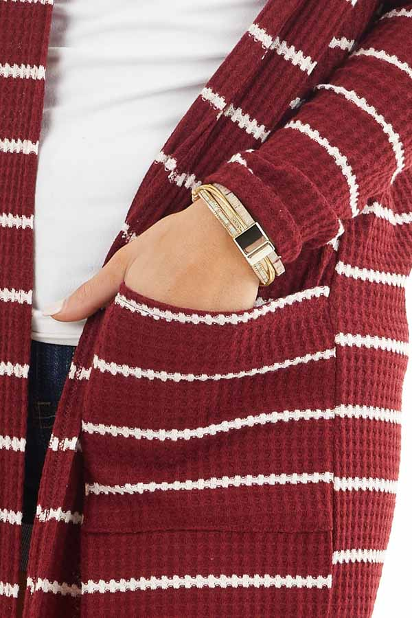 Maroon and Ivory Striped Waffle Knit Cardigan with Pockets detail