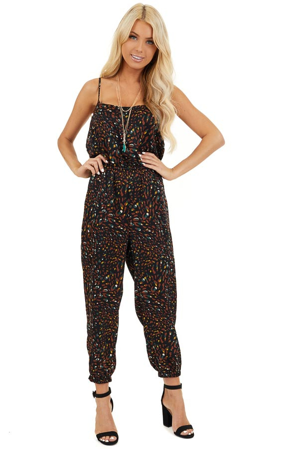 Black Printed Sleeveless Jumpsuit with Elastic Waistband front full body