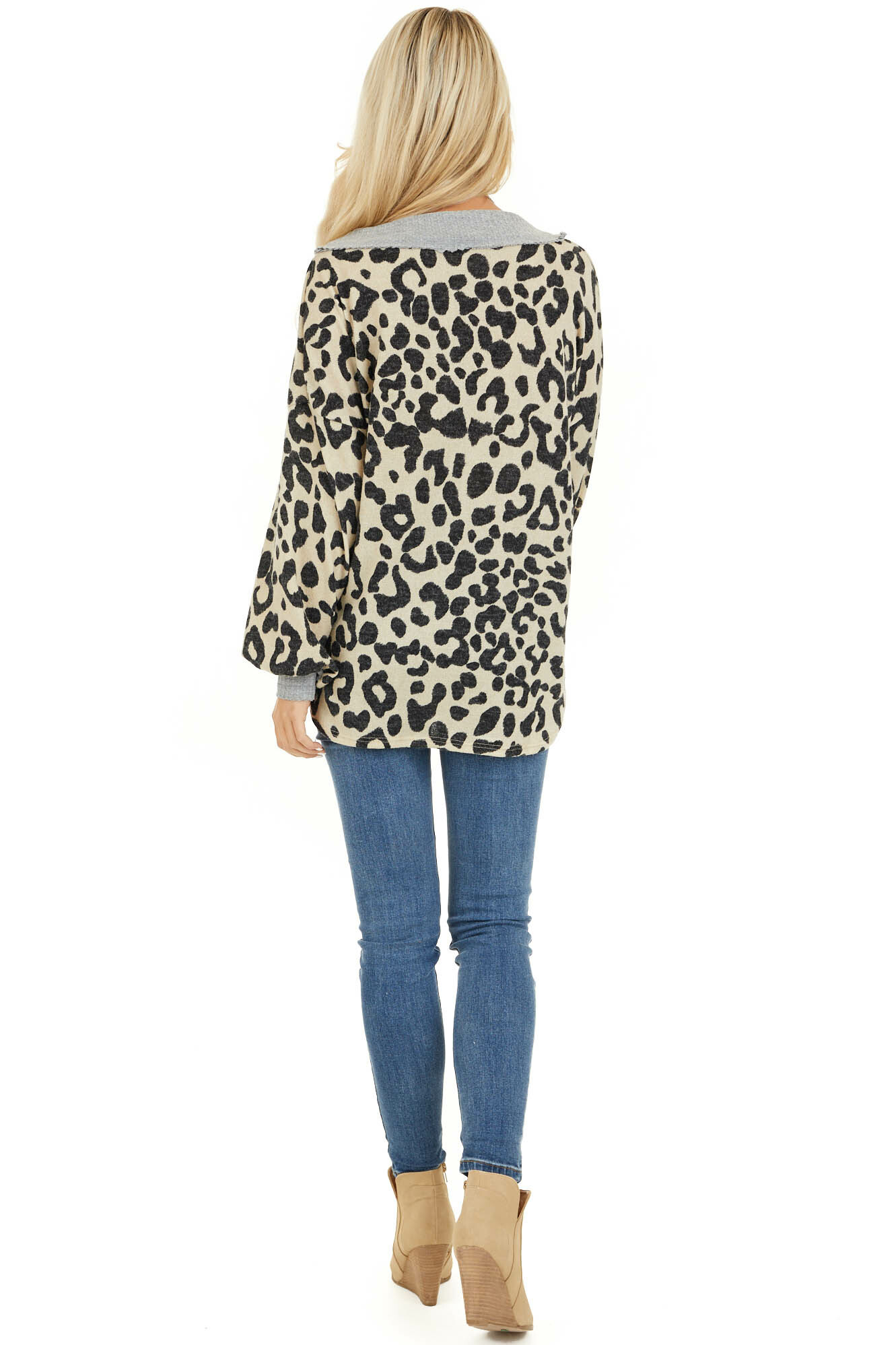 Cream Leopard Print V Neck Top with Grey Contrast back full body