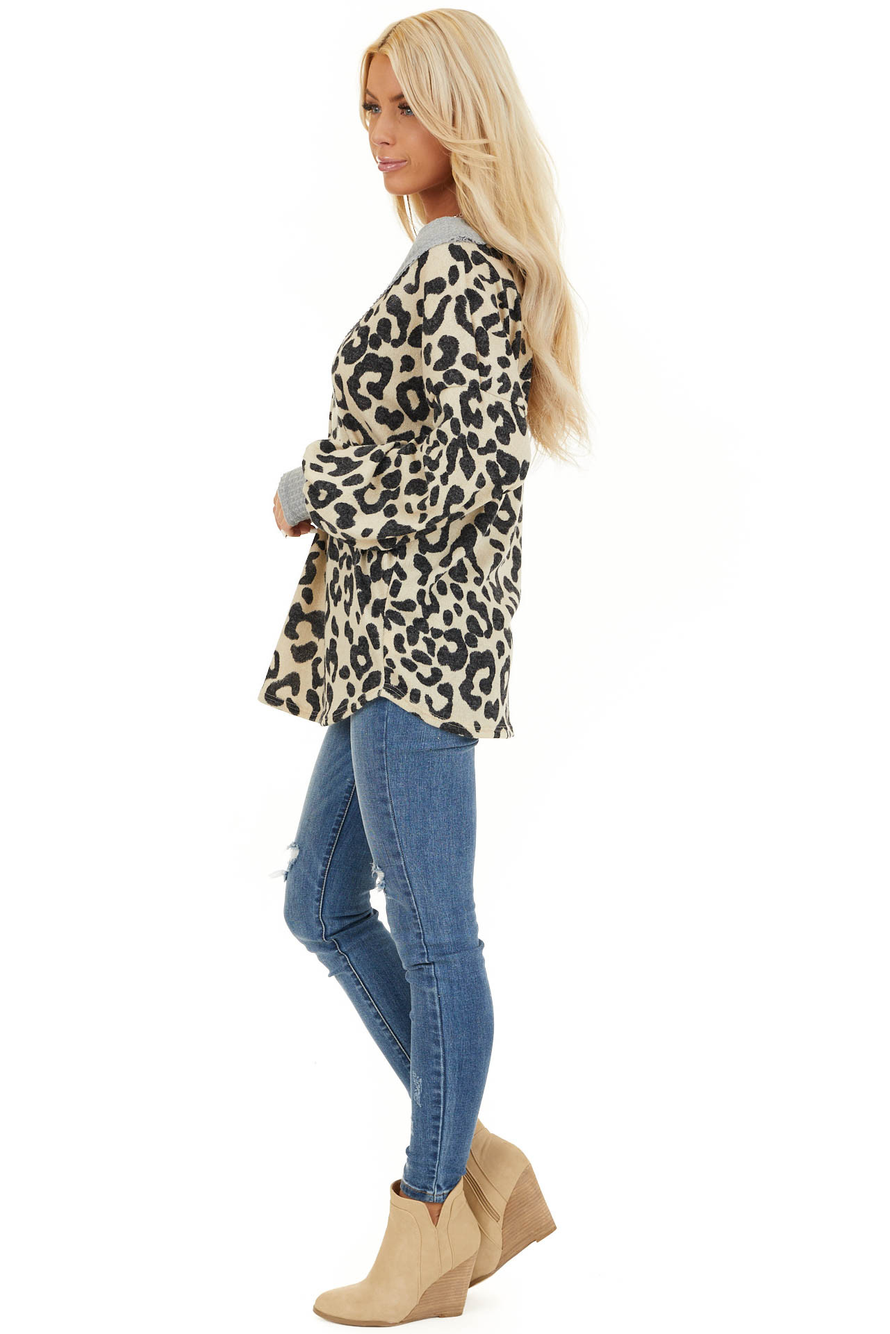 Cream Leopard Print V Neck Top with Grey Contrast side full body