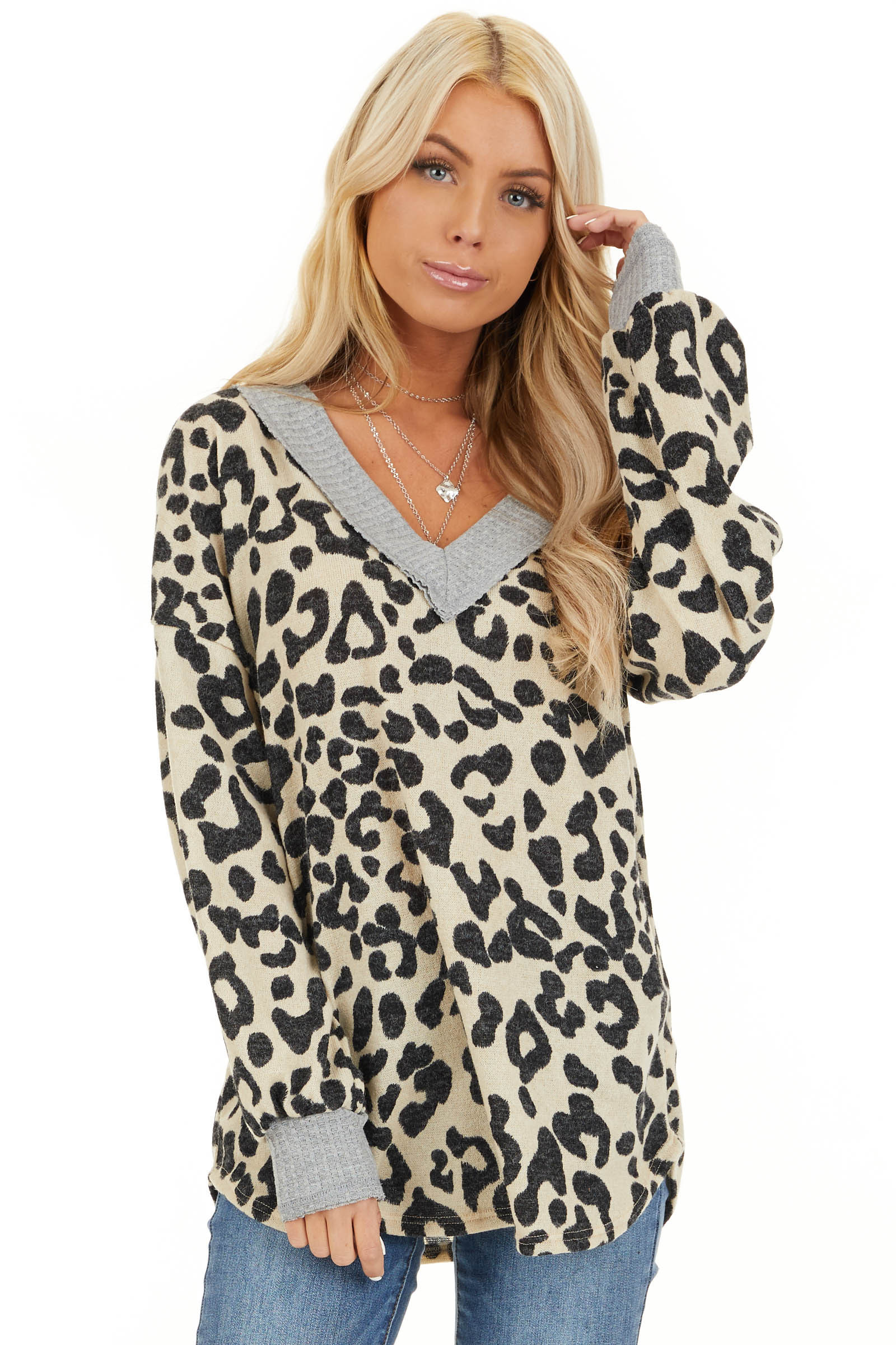 Cream Leopard Print V Neck Top with Grey Contrast front close up