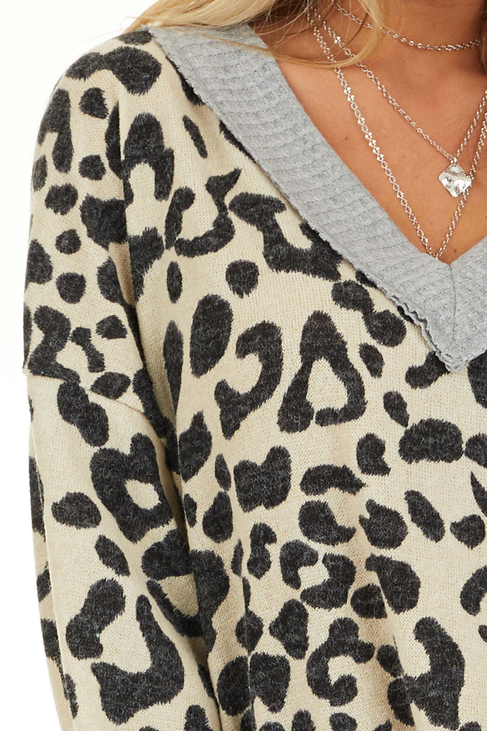 Cream Leopard Print V Neck Top with Grey Contrast detail