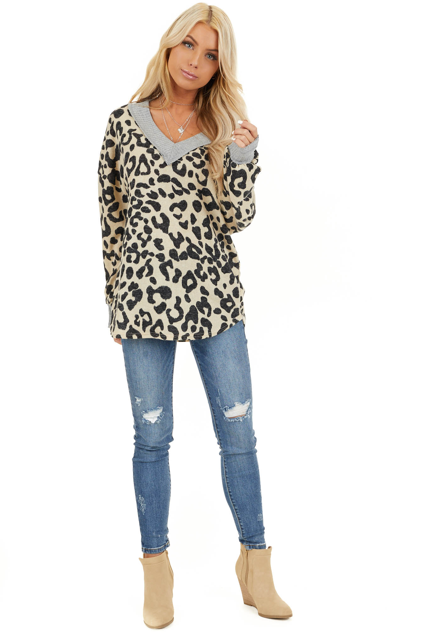 Cream Leopard Print V Neck Top with Grey Contrast front full body
