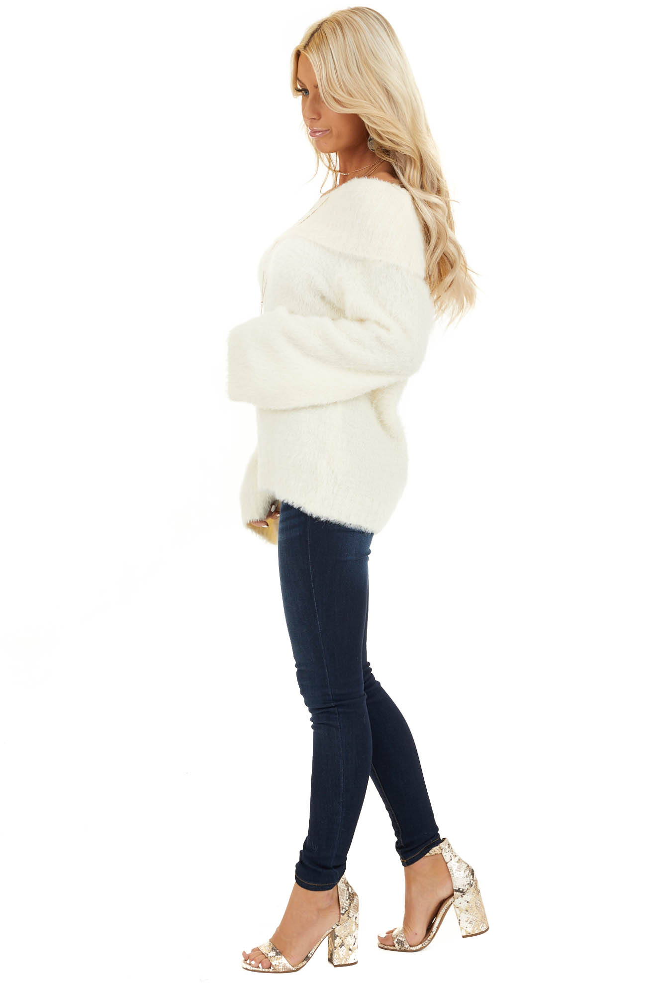 Cream Super Soft Fuzzy Off the Shoulder Long Sleeve Top side full body