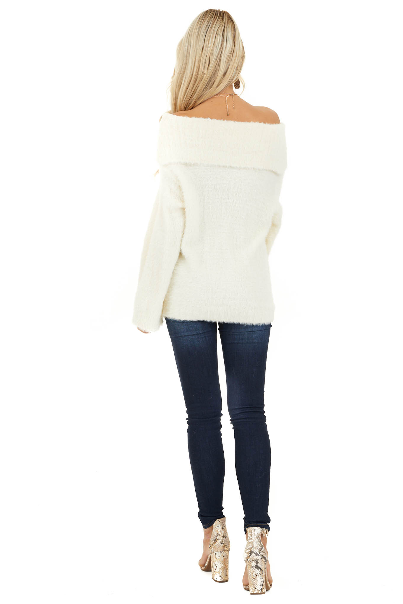 Cream Super Soft Fuzzy Off the Shoulder Long Sleeve Top back full body