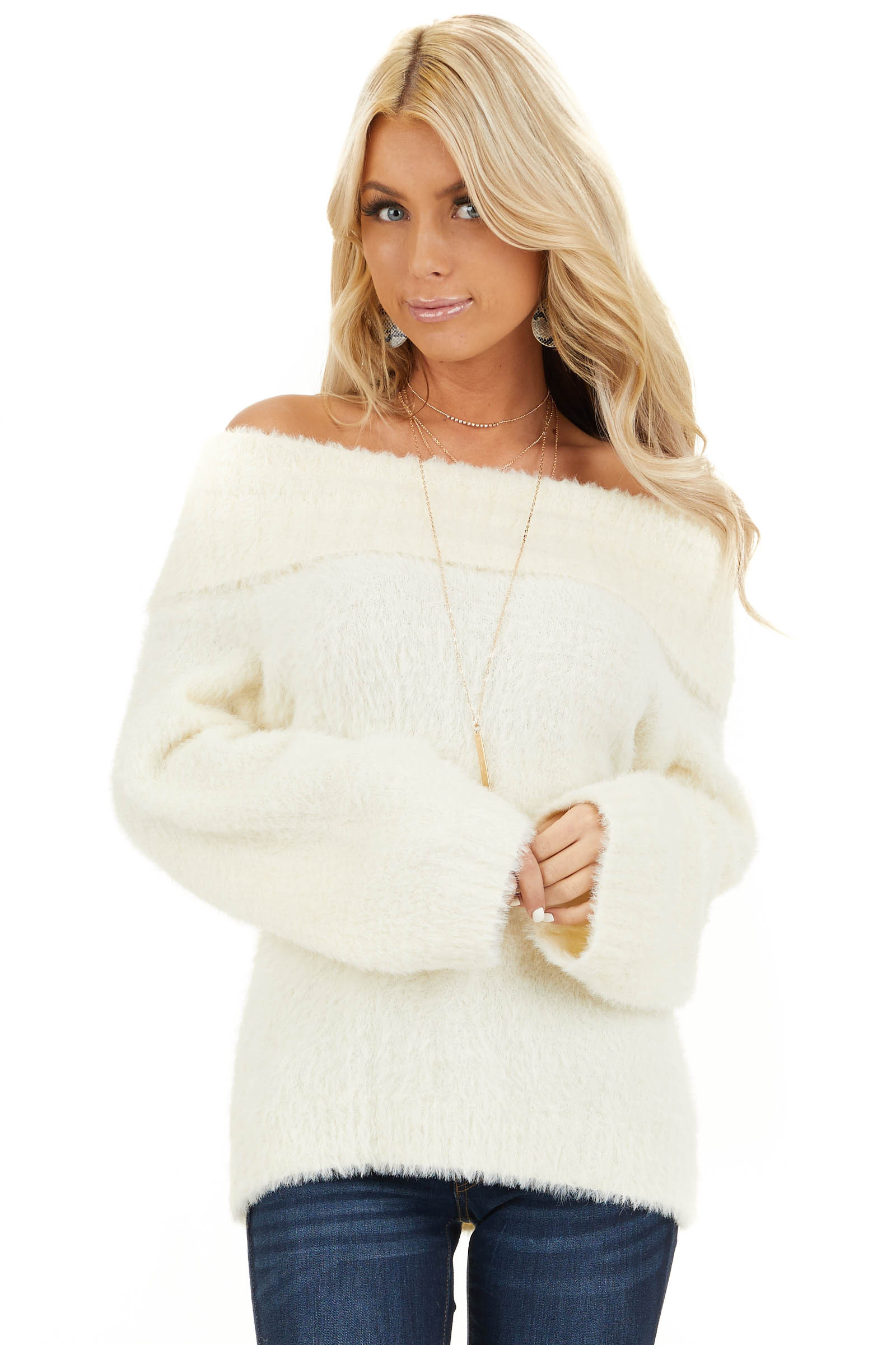 Cream Super Soft Fuzzy Off the Shoulder Long Sleeve Top front close up