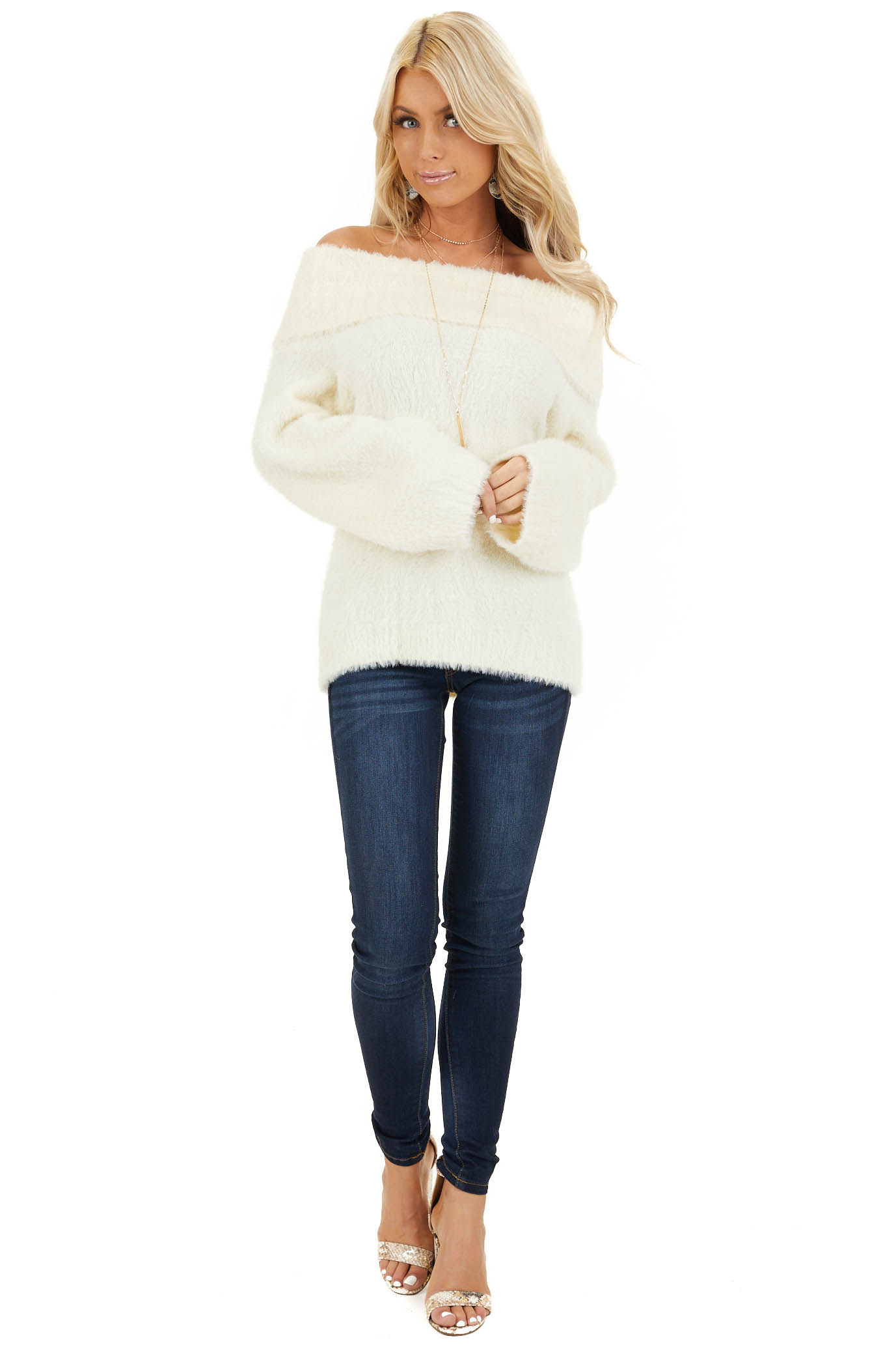 Cream Super Soft Fuzzy Off the Shoulder Long Sleeve Top front full body