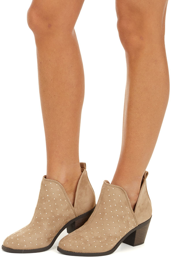 Taupe Chunky Heeled Booties with Silver Studded Details side view