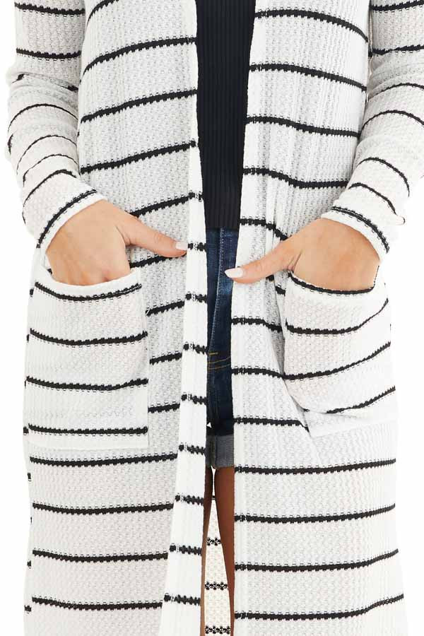 Ivory and Black Striped Waffle Knit Cardigan with Pockets detail