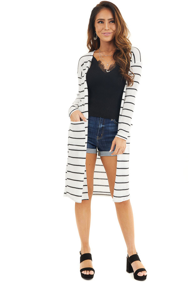 Ivory and Black Striped Waffle Knit Cardigan with Pockets front full body