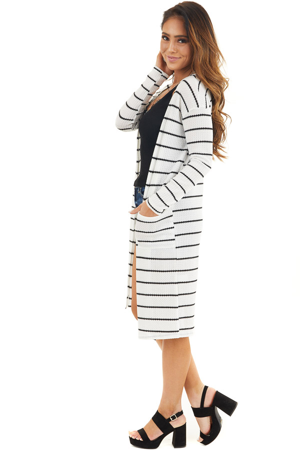 Ivory and Black Striped Waffle Knit Cardigan with Pockets side full body
