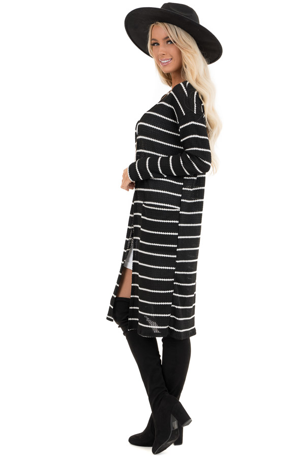 Black and Ivory Striped Waffle Knit Cardigan with Pockets side full body