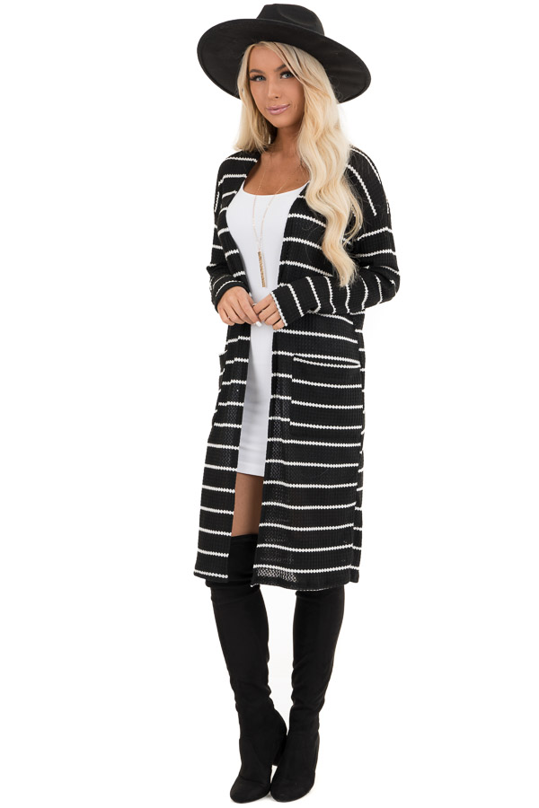 Black and Ivory Striped Waffle Knit Cardigan with Pockets front full body