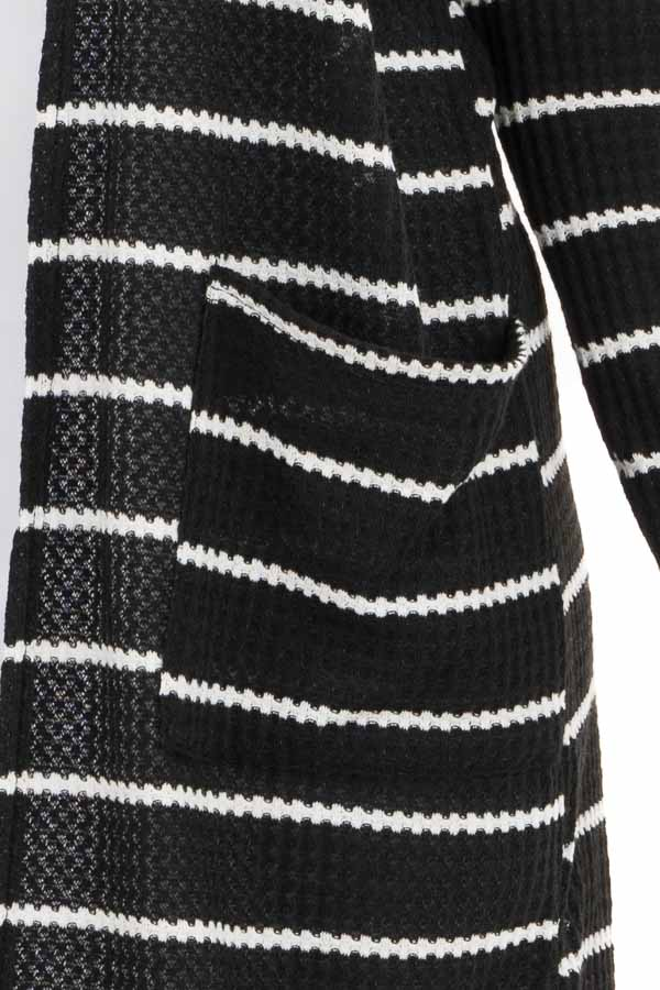 Black and Ivory Striped Waffle Knit Cardigan with Pockets detail