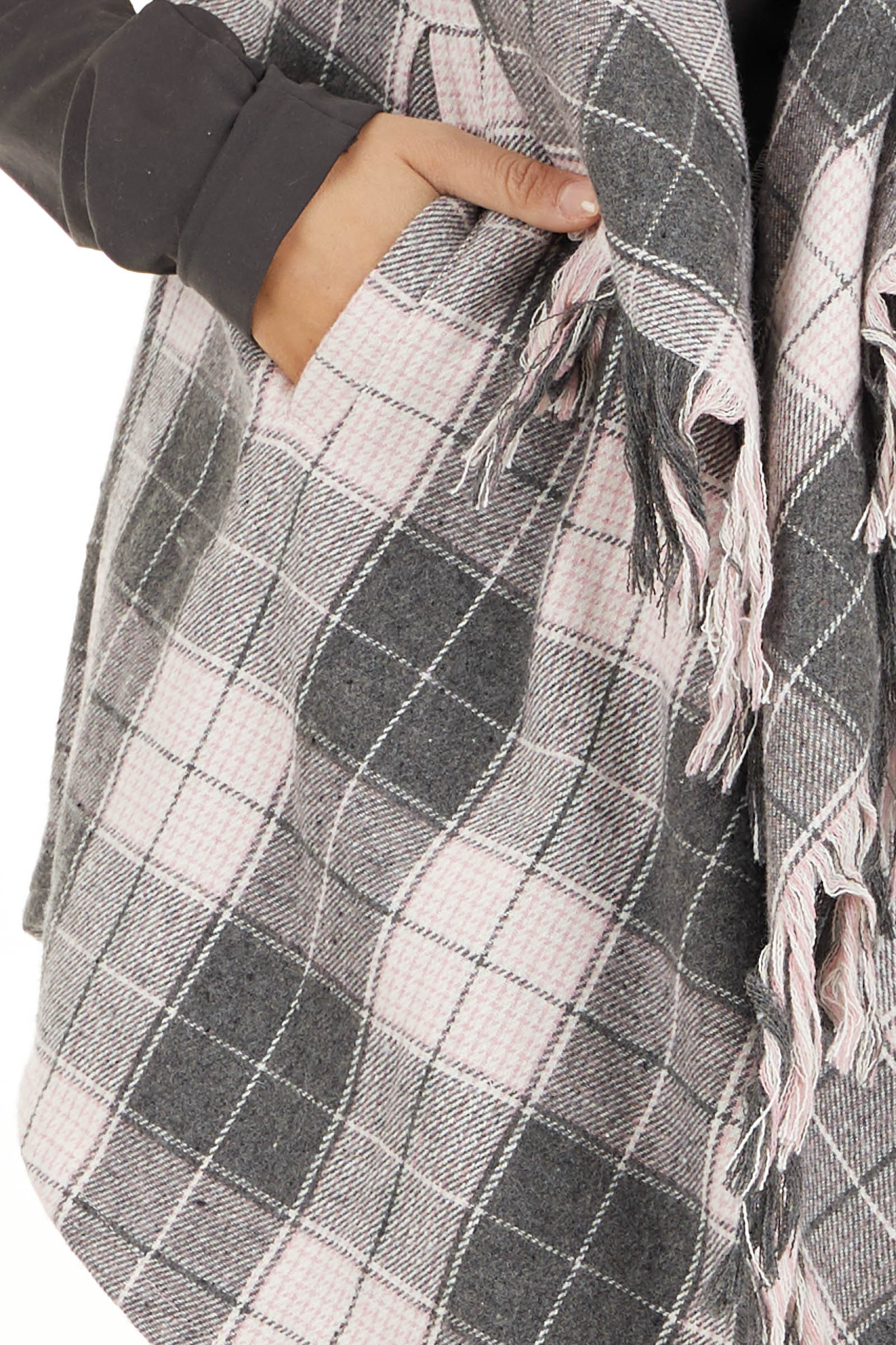 Blush and Charcoal Plaid Hooded Vest with Fringe Details detail