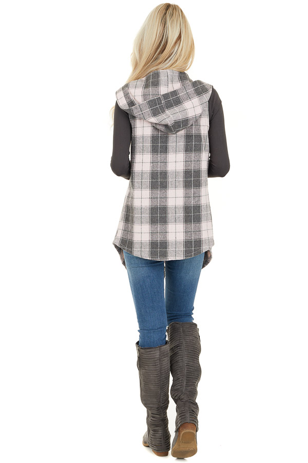 Blush and Charcoal Plaid Hooded Vest with Fringe Details back full body