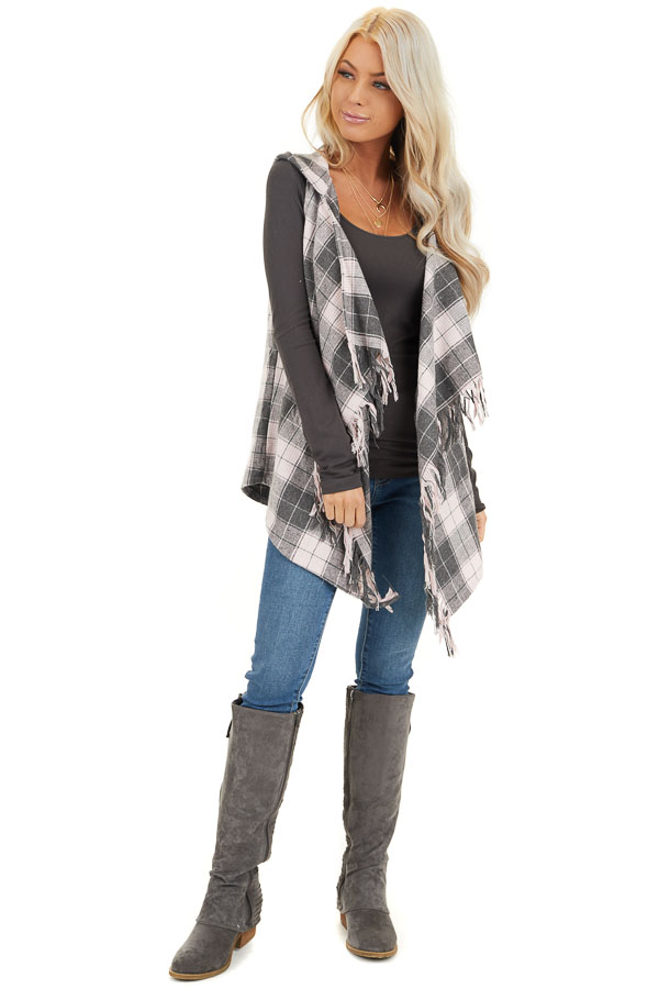 Blush and Charcoal Plaid Hooded Vest with Fringe Details front full body