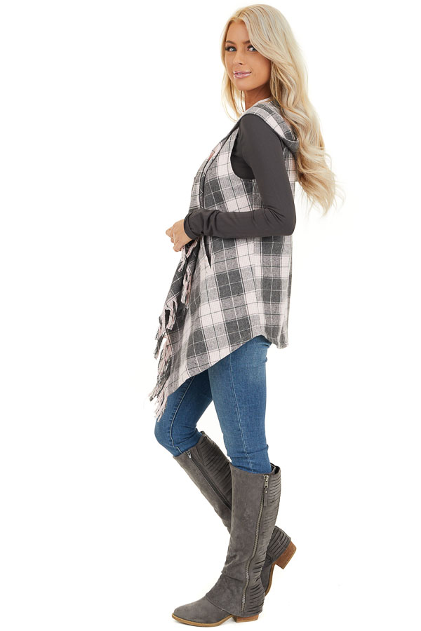 Blush and Charcoal Plaid Hooded Vest with Fringe Details side full body