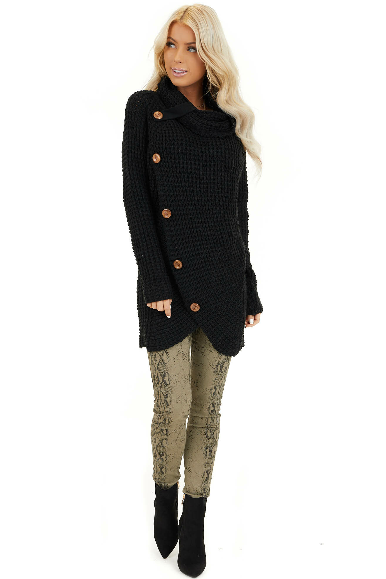 Black Chunky Waffle Knit Turtleneck Sweater with Buttons front full body