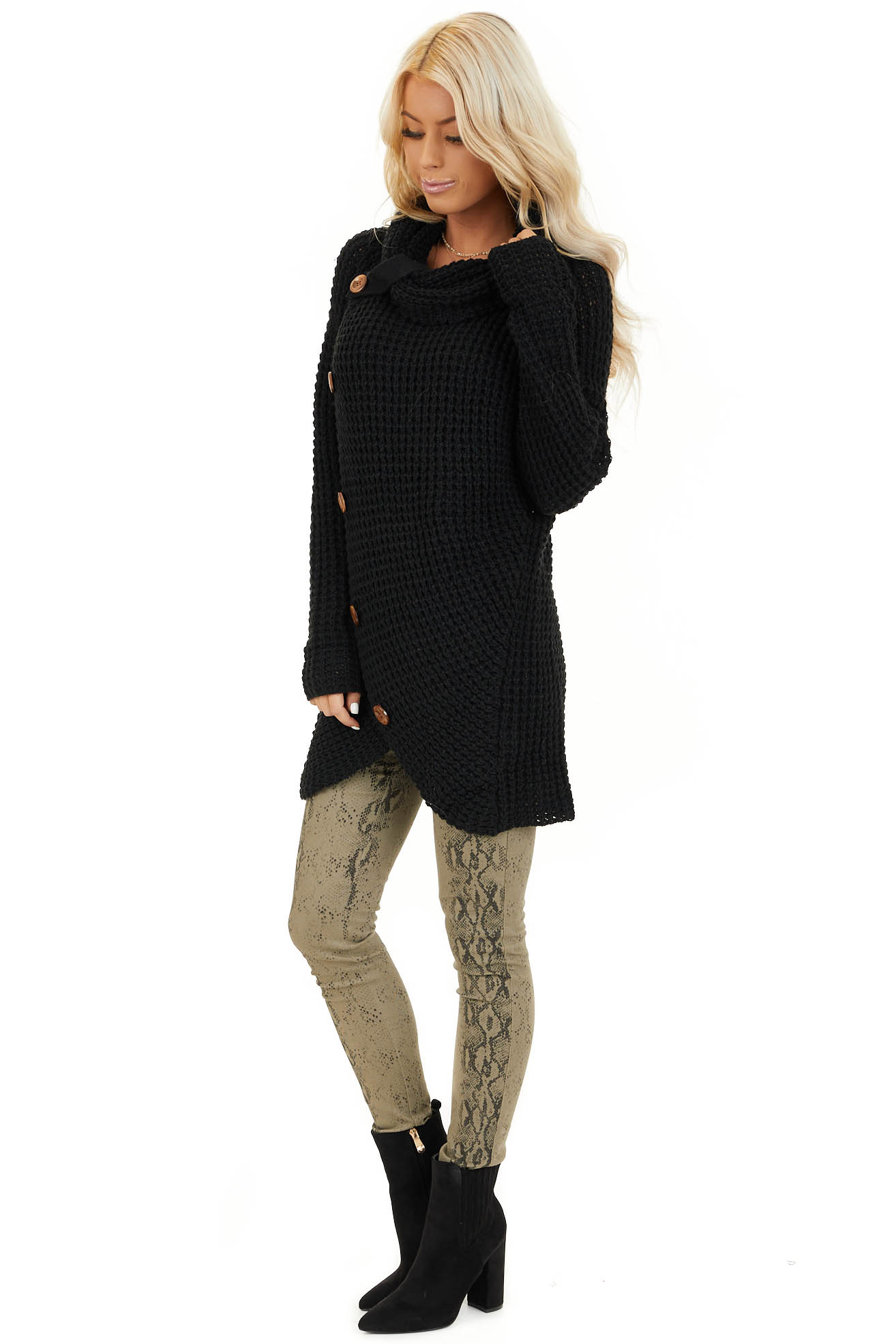 Black Chunky Waffle Knit Turtleneck Sweater with Buttons side full body