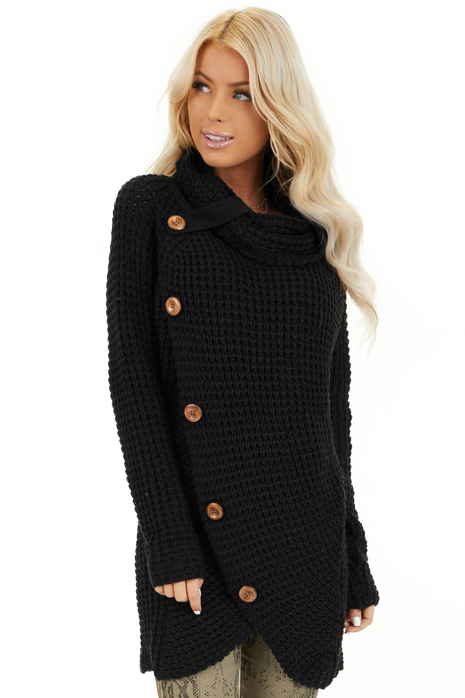 Black Chunky Waffle Knit Turtleneck Sweater with Buttons front close up