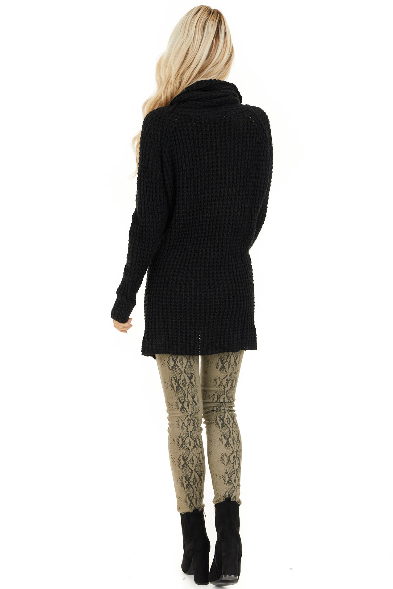 Black Chunky Waffle Knit Turtleneck Sweater with Buttons back full body