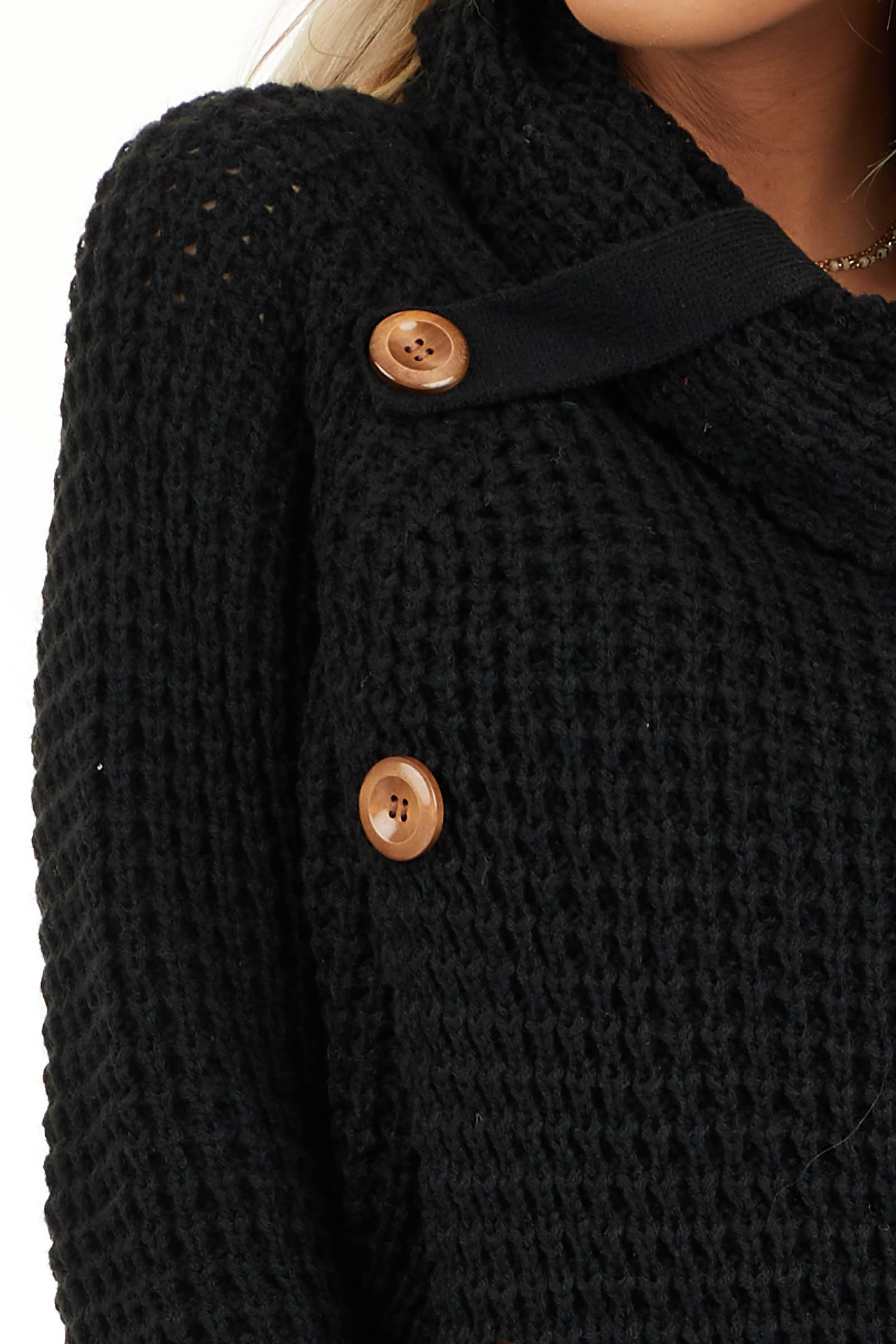 Black Chunky Waffle Knit Turtleneck Sweater with Buttons detail