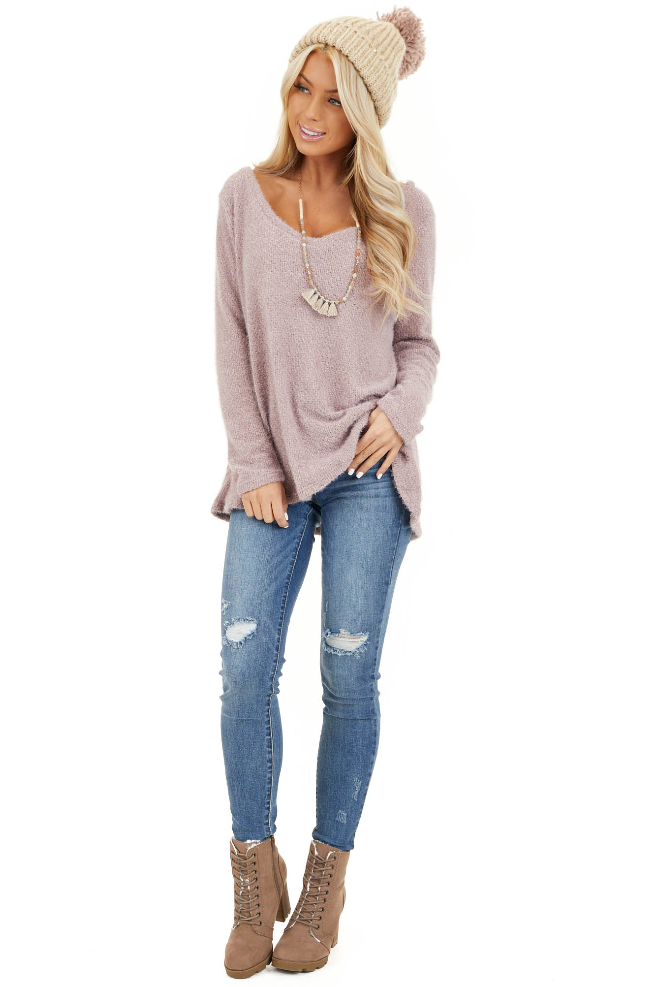 Lavender Fuzzy Knit Long Sleeve V Neck Lightweight Sweater front full body
