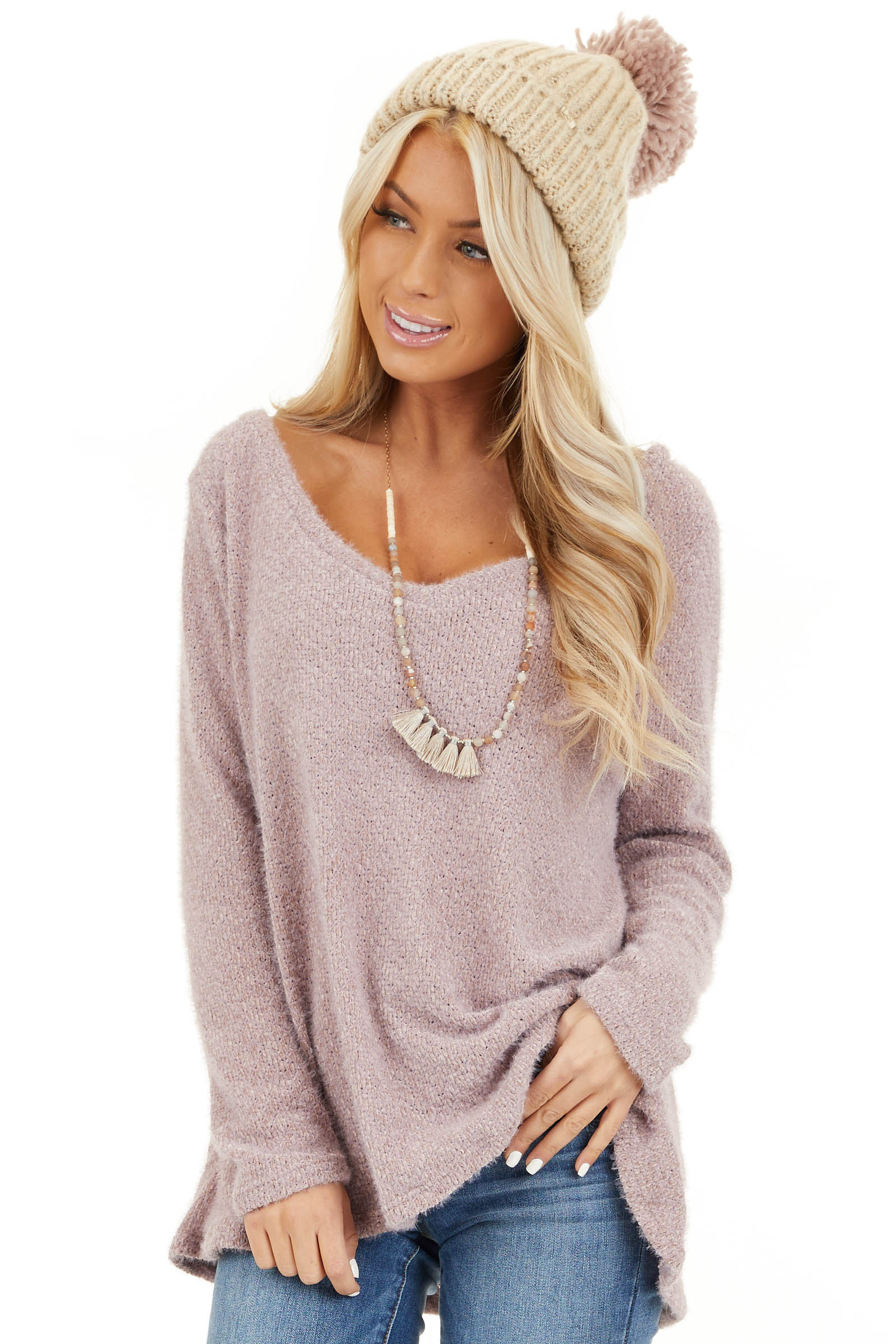 Lavender Fuzzy Knit Long Sleeve V Neck Lightweight Sweater front close up
