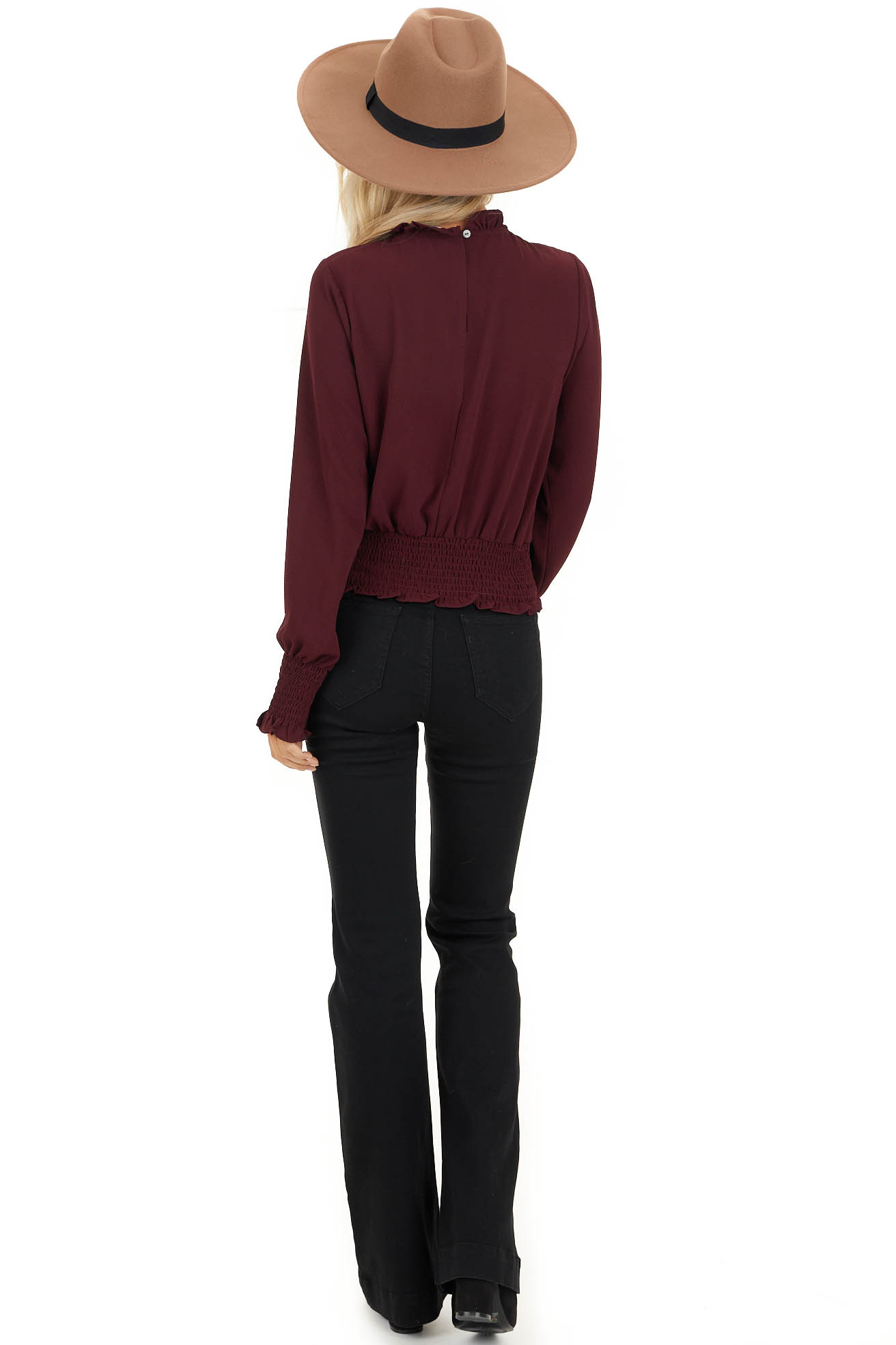 Burgundy High Neck Top with Smocked and Ruffle Details back full body