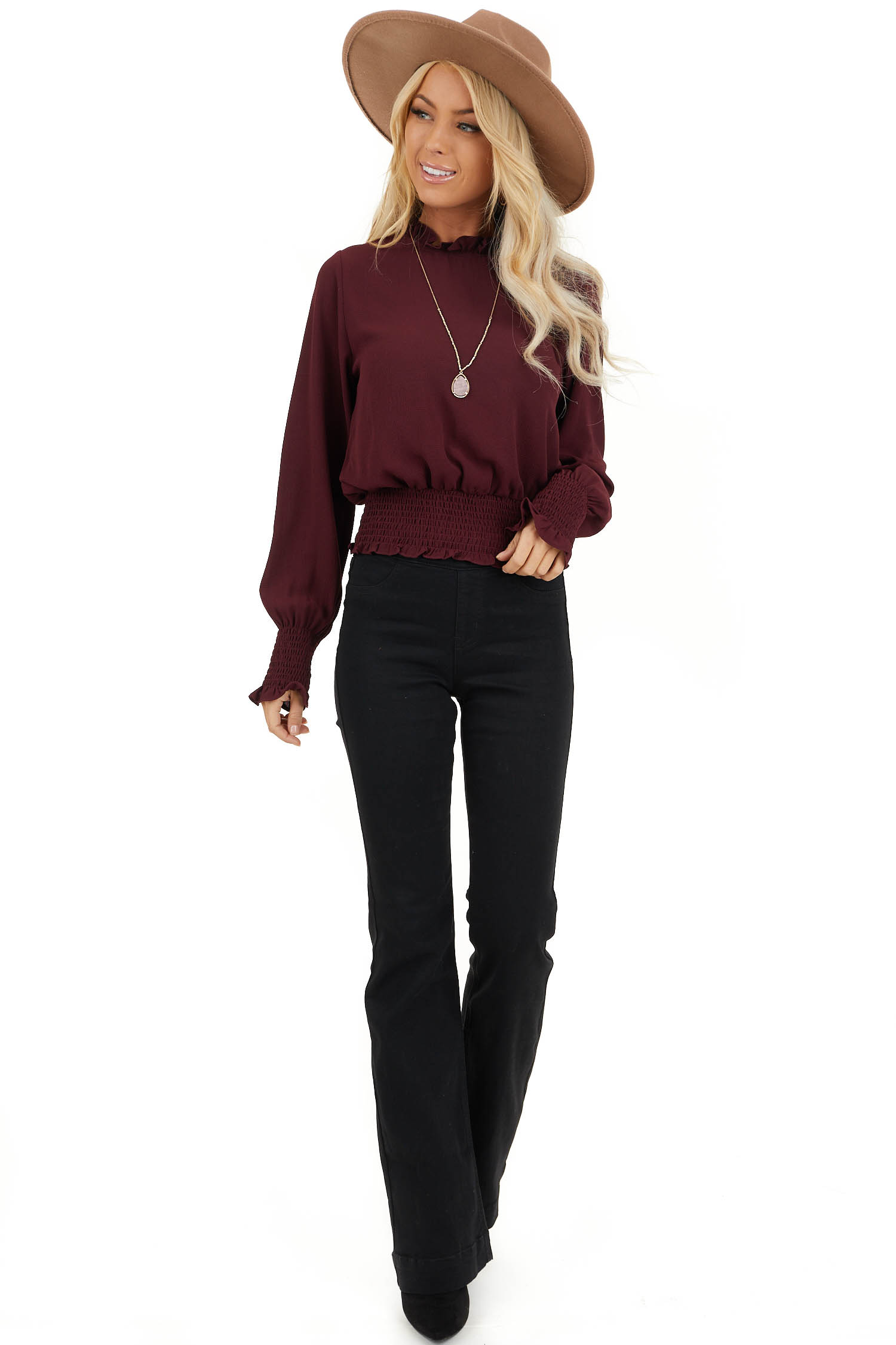 Burgundy High Neck Top with Smocked and Ruffle Details front full body