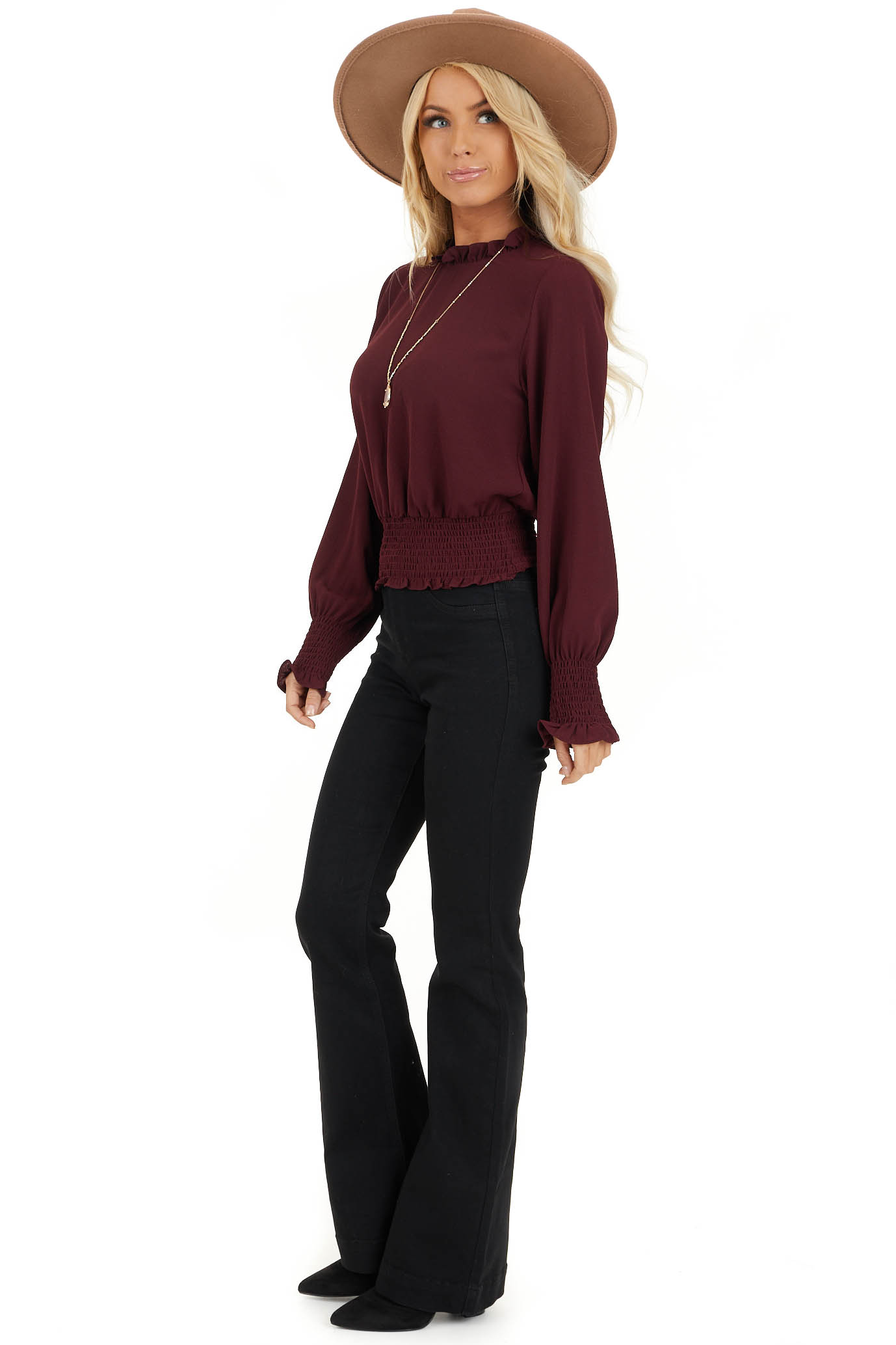 Burgundy High Neck Top with Smocked and Ruffle Details side full body